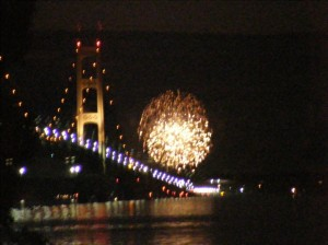Fireworks over Mackinac Bridge